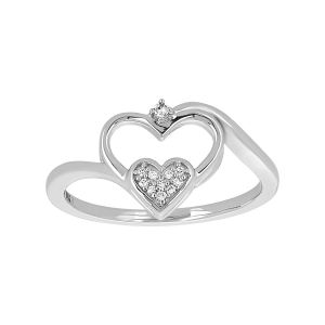 10k White Gold Double Heart Diamond Promise Ring