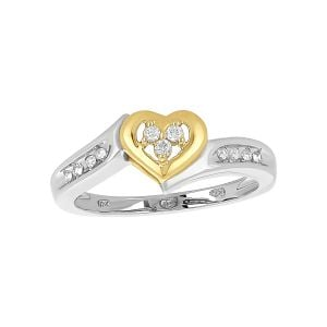 10k White and Yellow Gold Diamond Heart Promise Ring