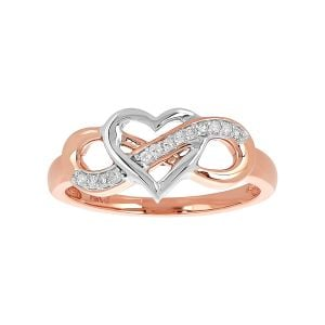 14k Gold Two-Tone Heart Infinity with Diamond Accent Ring
