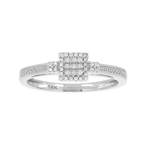 14k White Gold Princess Cluster Promise Ring