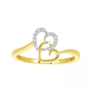10k Yellow Gold Interlocked Hearts Diamond Ring