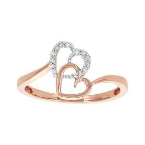 10k Rose Gold Diamond Interlocked Hearts Ring
