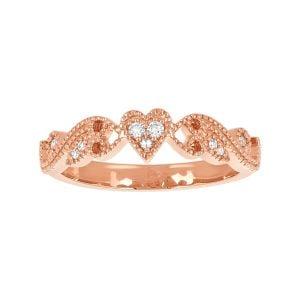 10k Rose Gold Filigree Heart Ring