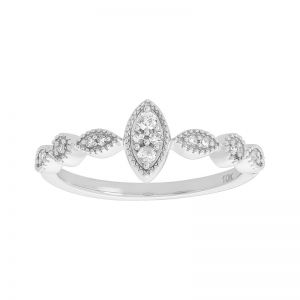 10k White Gold Marquise Shaped Diamond Promise Ring