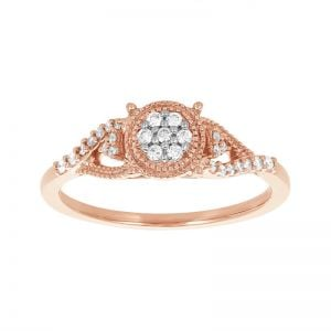 10k Rose Gold Round Cluster Vintage Diamond Promise Ring