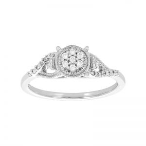 10k White Gold Round Cluster Vintage Diamond Promise Ring