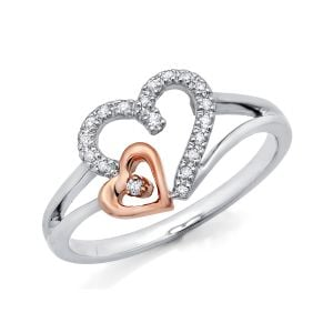 10k Two-Tone Gold Double Heart With Diamond Ring