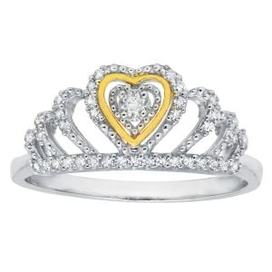 10k Gold Two-Tone Diamond Heart Crown Ring