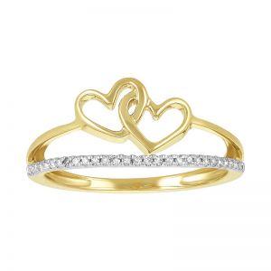 14k Yellow Gold Two Interlocking Hearts Split Band Promise Ring