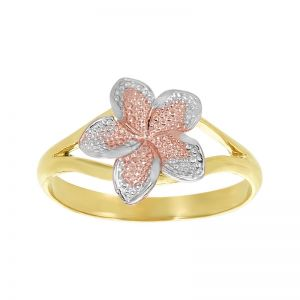 14k Gold Tri-Color Baby Plumeria Ring