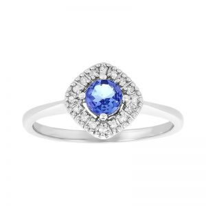 10k White Gold Tanzanite and Diamond Halo Ring