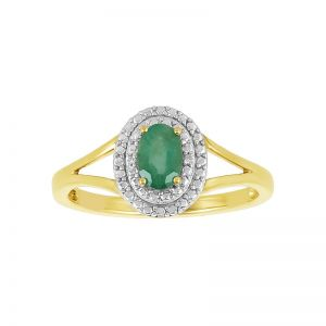 10k Two-Tone Oval Halo Emerald Ring