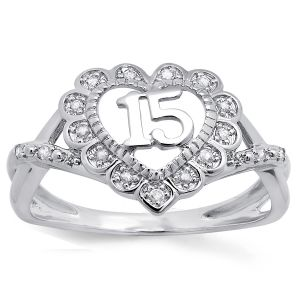 10k White Gold Quinceañera Ring
