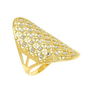 14k Gold Two-Tone Grid Fashion Ring