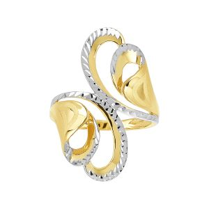 14k Gold Two-Tone Swirl Fashion Ring