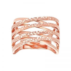 14k Rose Gold Diamond Cut Criss Cross Ring