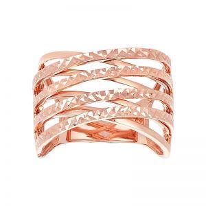 14k Rose Gold Diamond Cut Criss Cross Ring