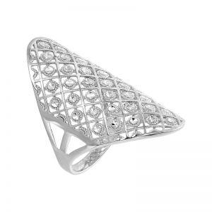 14k White Gold Grid Fashion Ring