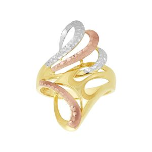 14K Tri Color Gold Fan Design Ring