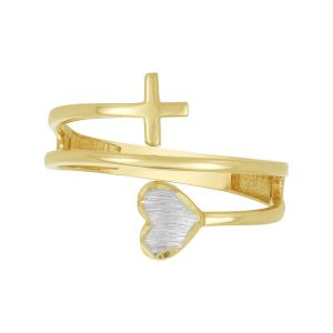 14K Two Tone Gold Cross and Heart Wrap Ring