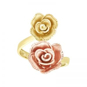 14k Gold Two-Tone Rose Bypass Ring