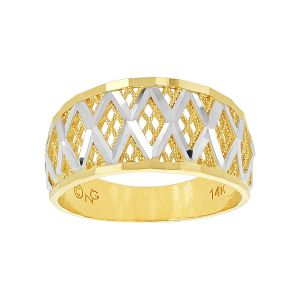 14k Gold Two-Tone Wide Criss-Cross Ring