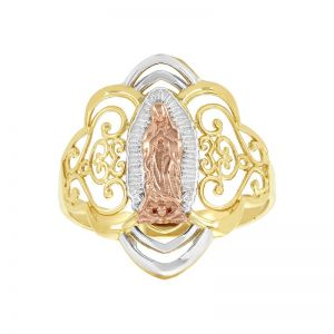 14k Gold Tri-Color Filigree Our Lady of Guadalupe Ring