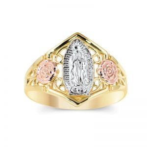 14k Gold Tri-Color Guadalupe Filigree Ring