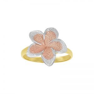14k Gold Tri-Color Plumeria Flower Ring