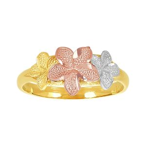 14k Tri-Color Three Flower Plumeria Ring