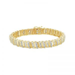 14k Gold Two-Tone Diamond Round and Baguette Cut Link Bracelet