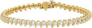 14k Yellow Gold Single Row Tennis Bracelet