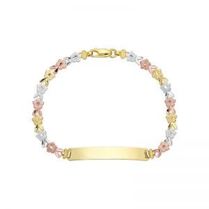 14k Gold Tri-Color Flower Link ID Bracelet