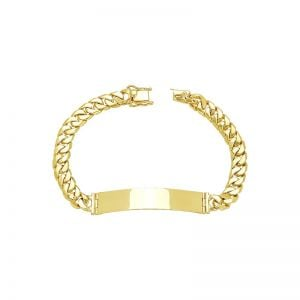 Mens 14k Yellow Gold 8mm Cuban Link ID Bracelet