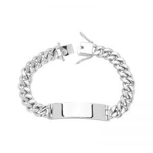 Men's Silver 10.5 mm Cuban Link ID Bracelet