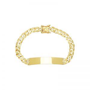 Men's 14k Yellow Gold 8mm Curb Link ID Bracelet