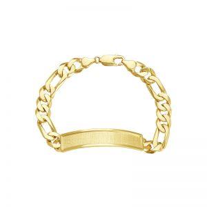 Men's 14k Yellow Gold Figaro Link Framed ID Bracelet