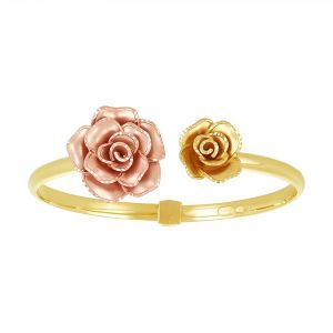 14k Gold Two-Tone Rose Bypass Cuff