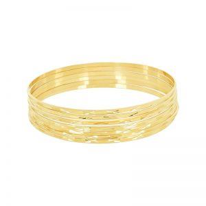 14k Yellow Gold Diamond Cut Semanario Bangle Set