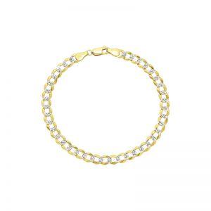 Men's 14k Yellow Gold Curb Pavé Bracelet