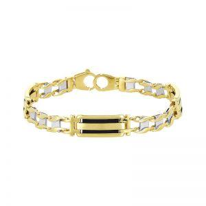 Men's 14k Gold Two-Tone Railroad Link Bracelet with Onyx