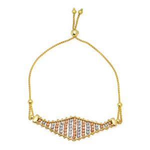 14k Gold Tri-Color Adjustable Marquise Bracelet