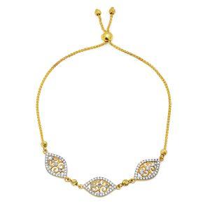 14k Gold Two Tone Filigree Cubic Zirconia Bracelet