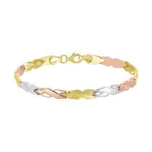 14k Gold Tri-Color X Link Bracelet