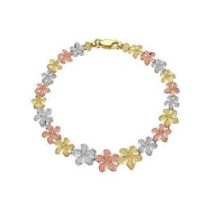 14k Gold Tri-Color Plumeria Bracelet