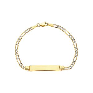 14k Yellow Gold Pavé Figaro 3mm ID Baby Bracelet