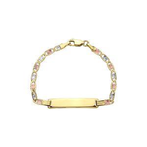 14k Gold Tri-Color Valentino Baby ID Bracelet
