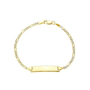 14k Yellow Gold Cuban Pave Baby ID Bracelet