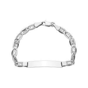 14k White Gold Sunburst Link Baby ID Bracelet