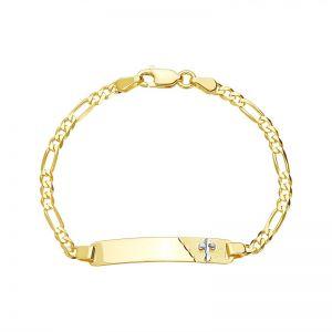 14k Gold Two-Tone Figaro Cross Baby ID Bracelet